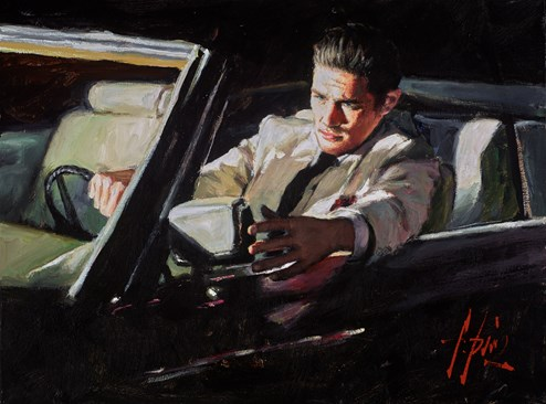 Late Ride IV by Fabian Perez - Original Painting on Stretched Canvas